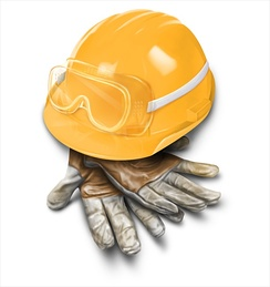Leather craftsman gloves, safety goggles, and a properly fitted hardhat are crucial for proper safety in a construction environment.