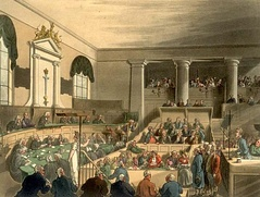 A trial at a criminal court, the Old Bailey in London
