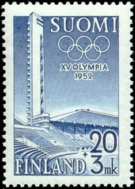 Finnish postage stamp featuring the Helsinki Olympic Stadium