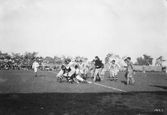 The Hamilton Tigers playing an unknown Ottawa team in 1910.