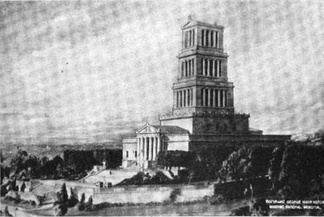 Model of the George Washington Masonic National Memorial in 1922. The model shows clear differences in the design of the tower and landscaping from the final building.