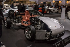Porsche Boxster cutaway showing the inner workings of the car