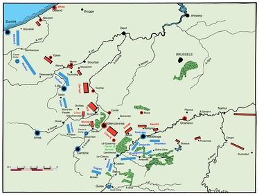 Positions of the armies at the start of the 1794 campaign