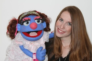 Leslie Madeline Fleming and Bleeckie, a character from a series of web videos.