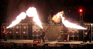Rammstein on stage at the Globe Arena in Stockholm, Sweden on 18 November 2004