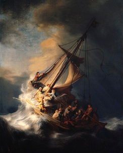 Rembrandt's Storm on the Sea of Galilee (1633), a painting Simon uses to introduce and frame the film, drawing attention to the central self-portrait of Rembrandt, who calmly stares out at the viewer while chaos rages around him.