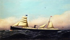 The SS Columbia around 1880, under full sail in rough seas displaying all of her colors.