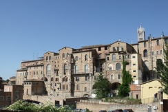 Panorama of Siena's Santa Maria della Scala Hospital, one of Europe's oldest hospitals. During the Middle Ages, the Catholic Church established universities which revived the study of sciences - drawing on the learning of Greek and Arab physicians in the study of medicine.