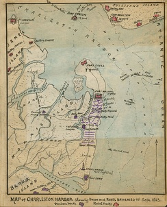 """Map of Charleston Harbor Showing Union and Rebel Batteries to September 1863."" Period map drawn by Robert K. Sneden."