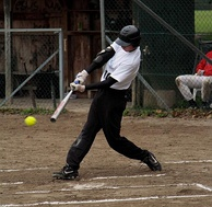 A batter swings at a pitch