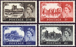 The castles high value definitive stamps of Great Britain.