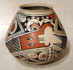 The Horned Serpent design is a common theme on pottery from Casas Grandes