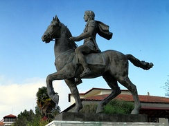 Statue of Alexander the Great riding Bucephalus and carrying a winged statue of Nike (Alexander the Great Square).