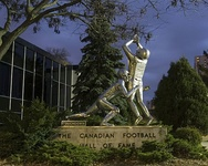 Touchdown monument outside the Canadian Football Hall of Fame in Hamilton, Ontario