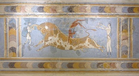 "Fresco displaying the Minoan ritual of ""bull leaping"", found in Knossos"