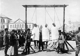 Three Syrian rebels hanged in Marjeh Square during Syrian Revolt of 1925–1927
