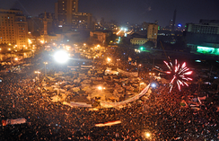 Protesters in Egypt celebrate in Tahrir Square after President Mubarak announced his resignation.