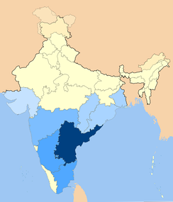 Geographic distribution of Telugu immigrants in light blue, Telugu is native to dark blue.