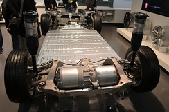 Tesla Model S chassis with drive motor