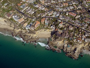 Low altitude aerial photograph for use in photogrammetry. Location: Three Arch Bay, Laguna Beach, CA.