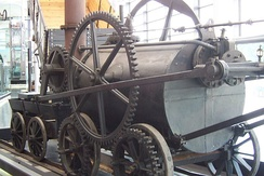 A replica of Trevithick's engine at the National Waterfront Museum, Swansea
