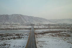 The Tumen River, at the border between North Korea and China. The picture is taken from the Chinese city of Tumen; the North Korean city of Namyang is across the bridge.