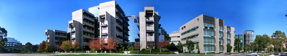 Panorama of the Jacobs School of Engineering on Earl Warren College mall. From left to right: Geisel Library, Engineering Building Unit (EBU) I, the Powell-Focht Bioengineering Building, the Computer Science Building, and EBU II (visible through trees)