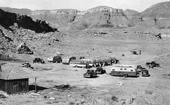 A typical USGS field mapping camp in the 1950s