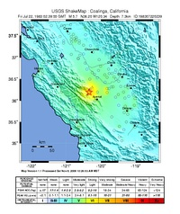 USGS ShakeMaps for the mainshock (left) and the July 22 aftershock