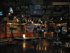 News set for WHIO-TV in Dayton, Ohio. News anchors often report from sets such as this, located in or near the newsroom.