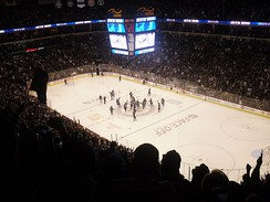 The team celebrate their first regulation win as the Jets at the MTS Centre on October 17, 2011.