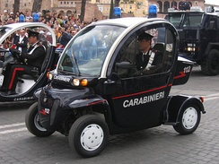 "An Italian Carabinieri GEM e2 (called the Ovetti – ""little eggs"") in Carabinieri service. Used for patrolling urban areas."