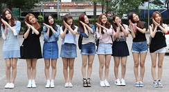 Gugudan on the way to Music Bank, on July 15, 2016.