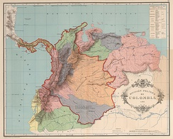 Map of the former Gran Colombia in 1824 (named in its time as Colombia), the Gran Colombia covered all the colored region.