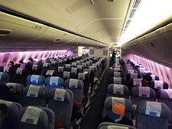 A nearly empty flight from Beijing to Los Angeles during the pandemic