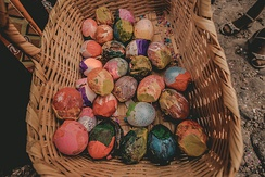 Colorful painted egg shells, filled with confetti, made by the hands of village children and used to celebrate the most important traditions of Ajijic, Jalisco.