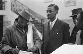 Patrice Lumumba, leader of the MNC-L and first Prime Minister, pictured in Brussels at the Round Table Conference of 1960