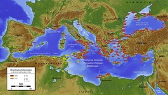 Greek (red) and Phoenician (yellow) colonies in antiquity c. the 6th century BCE