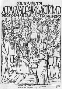 Francisco Pizarro meets with Atahualpa, 1532