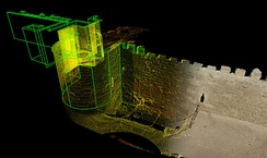 3D laser scan data image of the Bab al-Barqiyya Gate in the 12th century Ayyubid Wall that borders Al-Azhar Park. This fortified gate was constructed with interlocking volumes that surrounded the entrant in such a way as to provide greater security and control than typical city wall gates; image from the Aga Khan Foundation/CyArk research partnership