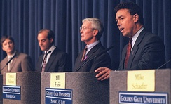 Gonzalez (far left) at the 1999 District Attorney debate with Terence Hallinan and Bill Fazio (far right)