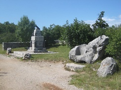 In the front, the Boroevic Throne, named after Svetozar Boroević.[2] In the back, a fingerpost and a monument built by the 43rd Infantry Regiment in honour of Archduke Joseph.[3]