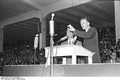 Billy Graham, a prominent evangelical revivalist, preaching in Duisburg, Germany in 1954.