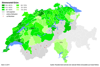 Percentages of the Green Party at district level in 2011