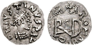 "Coin of the Gepids. Sirmium mint. Struck in the name of Justin I, ca. 518-526 CE. Obv: D N IVSTINVS P LV (first N retrograde), pearl-diademed and cuirassed bust right. Rev: VINVICTL ROMLNI, large ""Theodericus"" monogram across fields, cross above.[1]"