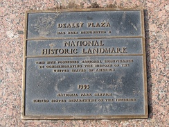 National Historic Landmark plaque at Dealey Plaza.
