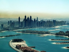 Dubai Palm Jumeirah and Marina in 2011