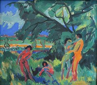 Ernst Ludwig Kirchner, Naked Playing People, 1910. Die Brücke, an Expressionist group active after 1905.