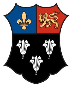 Arms of Eton College: Sable, three lily-flowers argent on a chief per pale azure and gules in the dexter a fleur-de-lys in the sinister a lion passant guardant or