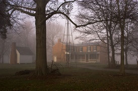 The back of the Farnsley–Moreman house on a foggy late winter morning